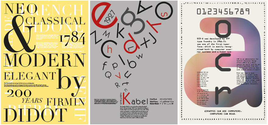 typeface poster project by students studying at Berlin International